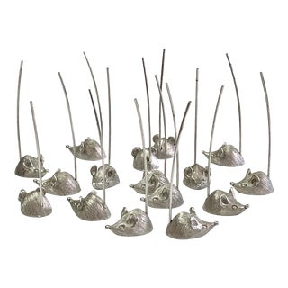 Vintage Ca. 1950s Napier Cheese Mice Appetizer Pick Set 16 Pieces For Sale