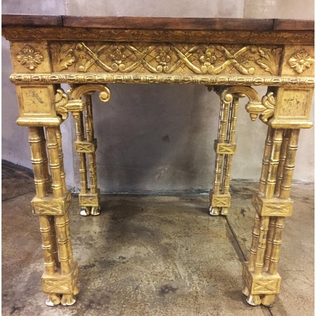 Asian Chinese Chippendale Style Gold Leaf Side Table For Sale - Image 3 of 8
