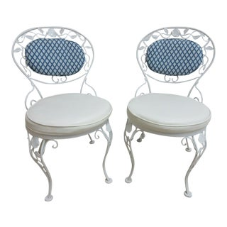 Vintage Woodard Wrought Iron Out Door Patio Chairs - A Pair