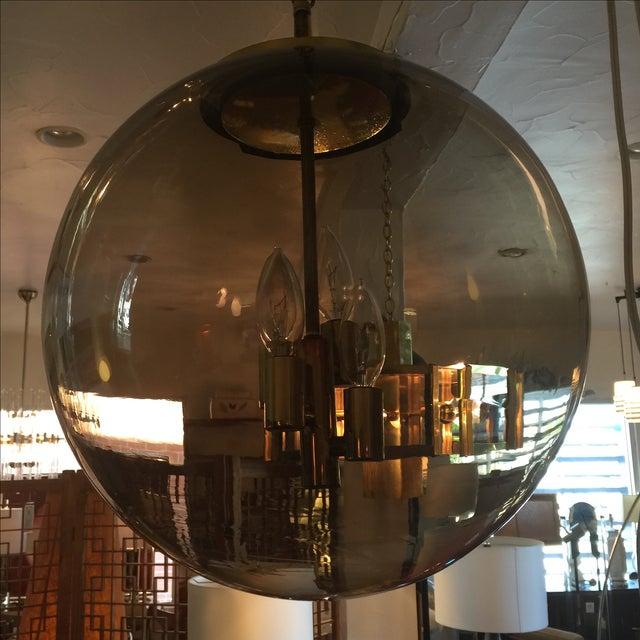Limburg Circular Smoke Glass and Brass Chandelier - Image 4 of 7