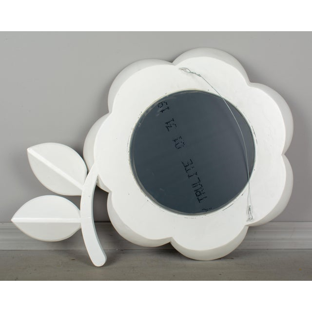 White Mid Century Modern Pop Art Flower Mirror For Sale - Image 8 of 9