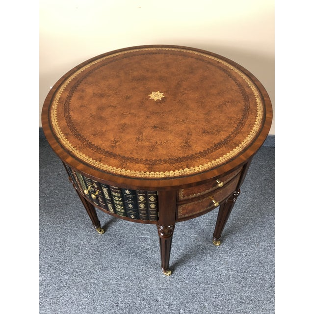 Round Leather Wrapped Side Table Cabinet With Trompe l'Oeil Books For Sale - Image 13 of 13