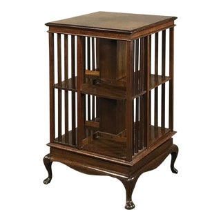 Antique Queen Anne Mahogany Revolving Book Stand For Sale