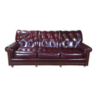 """Vintage Hancock & Moore Red Burgundy Leather Tufted Chesterfield Sofa Couch 87"""" For Sale"""