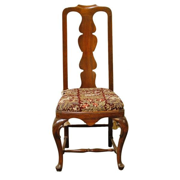 1990s Queen-Anne Style Fiddleback Mahogany Side Chair For Sale - Image 10 of 10