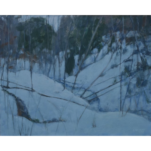 """Titled """"Dusk in Winter by the Brook"""". Light glowing from the snow, adding a few more precious minutes to dusk in winter...."""
