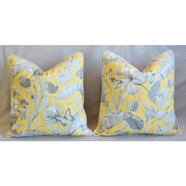"""Designer English Floral & Nature Linen/Velvet Feather & Down Pillows 24"""" Square - Pair For Sale In Los Angeles - Image 6 of 13"""