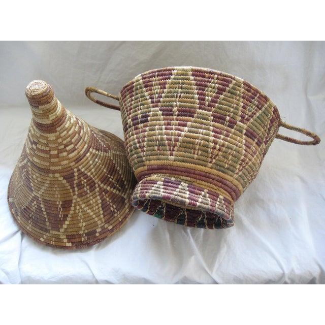 Lidded African Woven Basket - Image 4 of 9