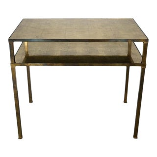Brass Table With Glass Top and Shelf For Sale