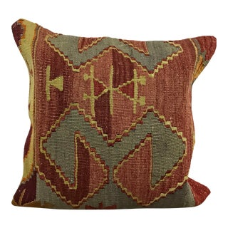 Traditional Vintage Turkish Ethnic Kilim Pillow Cover For Sale