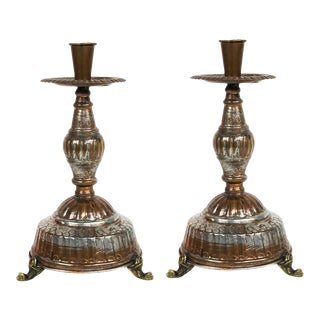 Hand Crafted Mexican Candle Holders - Copper Over Tin For Sale