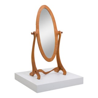 A Sculptural Maple Wood Framed Cheval Mirror USA 1950s For Sale