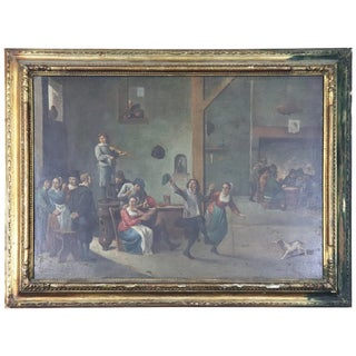 18th Century Flemish Oil Painting on Wood Table Interior Scene With People For Sale