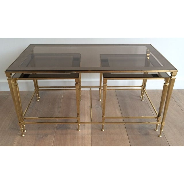 1940's Nesting Coffee Table With Smoked Portrait Glass For Sale In New Orleans - Image 6 of 7