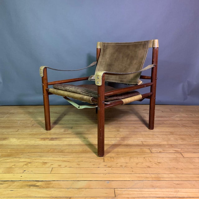 "Arne Norell ""Sirocco"" Leather Safari Chair Sweden For Sale - Image 12 of 12"