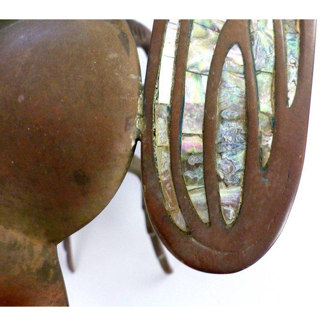 Abalone Los Castillo Brass, Copper and Abalone Dish attributed to Salvador Teran For Sale - Image 7 of 10