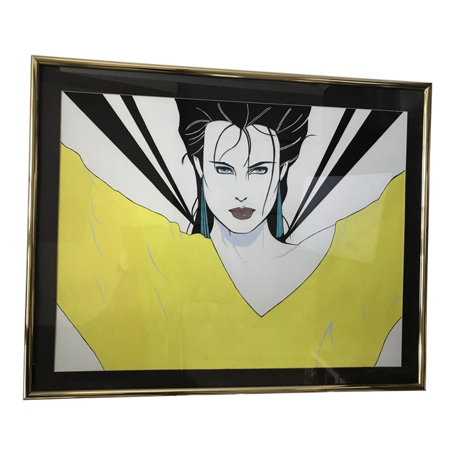 Patrick Nagel Inspired Original Painting - Woman in Yellow Sweater - Image 1 of 11