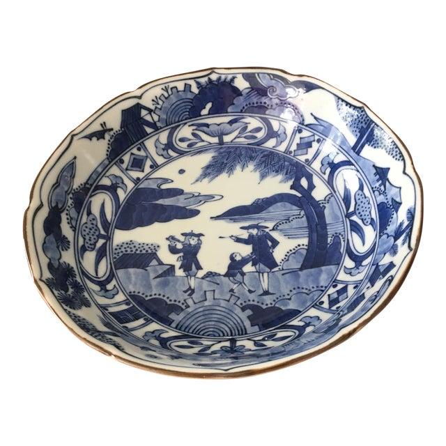Blue & White Japanese Scene Bowl For Sale
