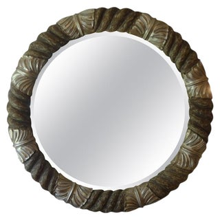 Vintage Italian Silver Gilt Wood Round Beveled Mirror For Sale