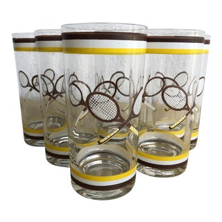 Early 1960's Mid-Century Tennis Themed Culver Highball Glasses -Set of 6 For Sale
