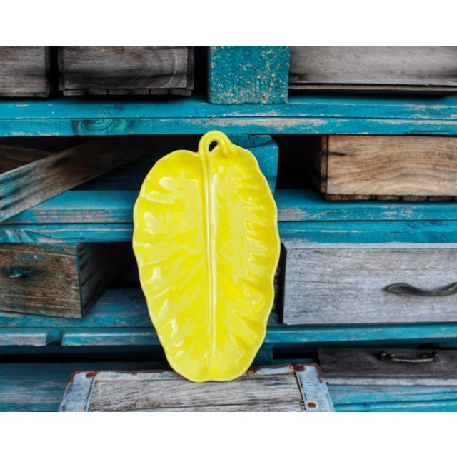 Yellow Vintage Yellow Leaf Shaped Olfaire Pottery Platter For Sale - Image 8 of 8