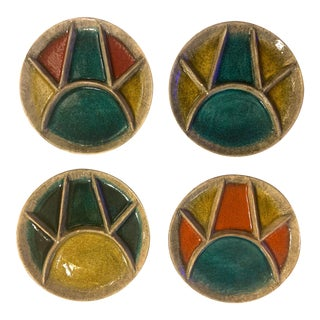 1950s Mid-Century Modern Hugo Kohler Biel Swiss Art Pottery Plates - Set of 4 For Sale