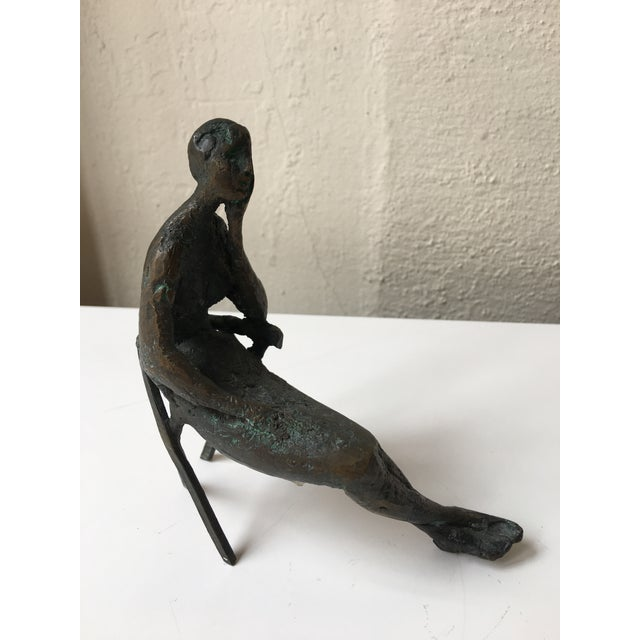 Metal Bronze Seated Lady Sculpture by Laura Ziegler For Sale - Image 7 of 7