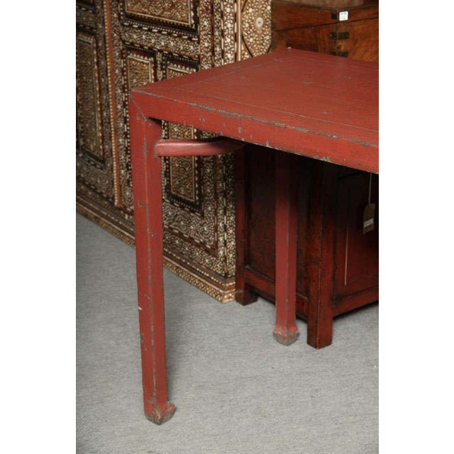 Antique Linen Covered Red Lacquered Elmwood Console Table, 19th Century China For Sale - Image 4 of 11