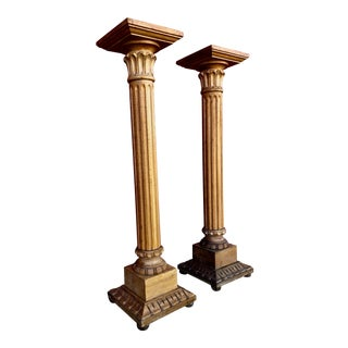 Vintage Macy's Italian Carved Wood Column Pedestal Floor Stands - a Pair For Sale