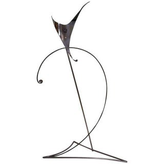 Sculptural Floor Lamp in Polished Chrome, Copper, and Semi-Precious Gem Stones For Sale
