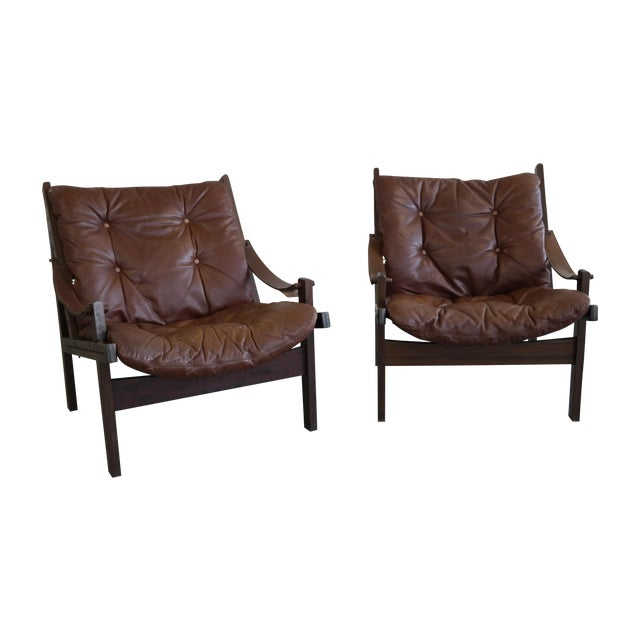 Torbjorn Afdal Mid Century Hunter Chairs - Pair For Sale