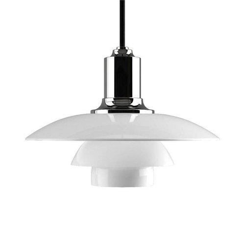 Poul Henningsen ph 2/1 opaline glass pendants for Louis Poulsen. Executed in white opal glass and a chrome or black...