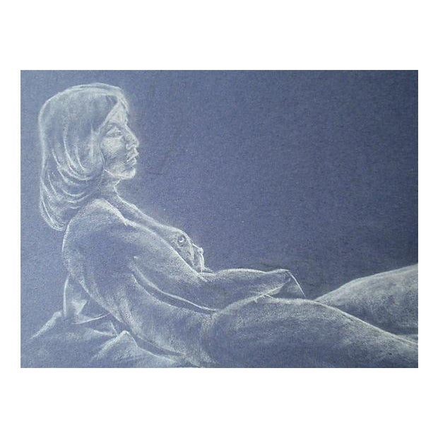 Original mid-century reclining nude drawing, circa 1950. White pastel on blue paper. Initialed lower right. Unframed....