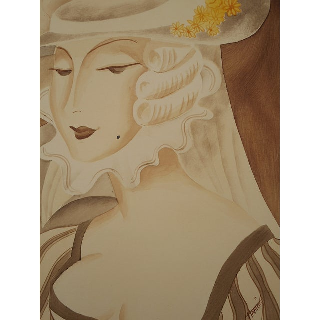 Vintage Mid 20th C. Signed Sepia Gouache Painting - Image 7 of 7