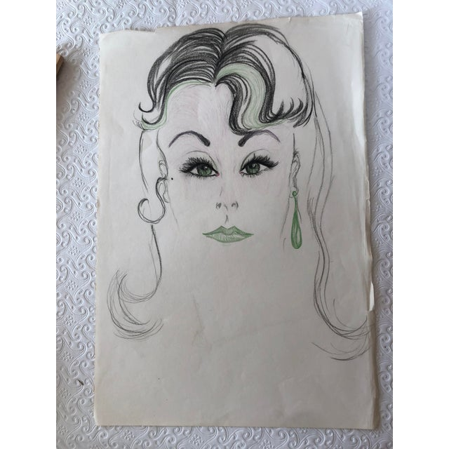 Final Markdown! Mid-Century Green-Eyed Lady Sketch Green Lips and Earring For Sale - Image 4 of 4