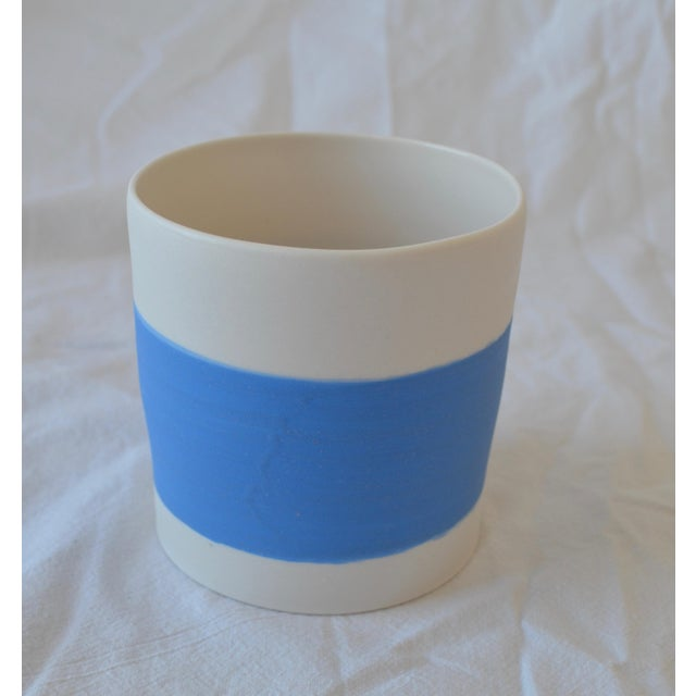 Blue Contemporary Ceramic Striped Cylindrical Vessels - Group of 6 For Sale - Image 8 of 11