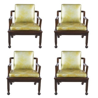 Widdicomb Set of 4 Dining Armchairs in Gold Green Leather and Ebony For Sale