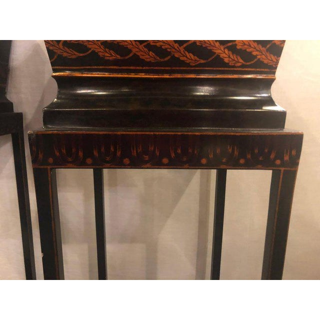 Gold Pair of Georgian Style Tole Jardinières or Planters on Shelved Pedestals For Sale - Image 7 of 13