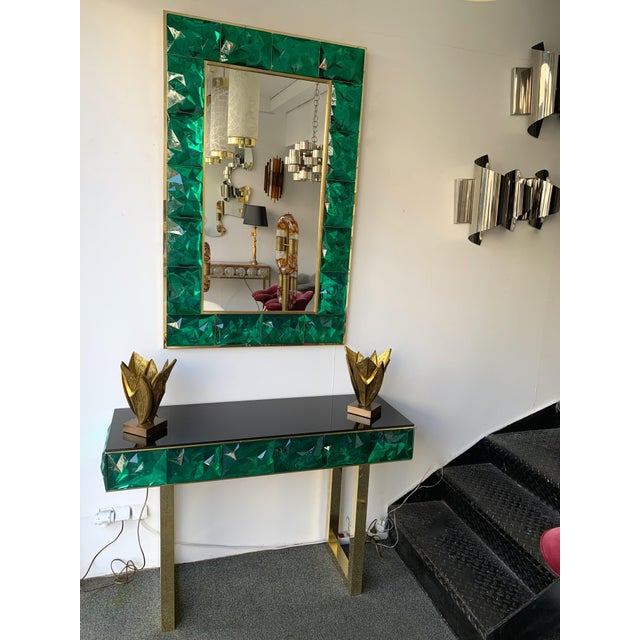 Contemporary Brass Mirror Console with Green Murano Glass, Italy For Sale - Image 11 of 13