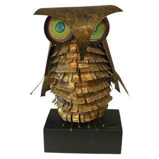 Curtis Jere Brass Owl Sculpture, circa 1969 For Sale