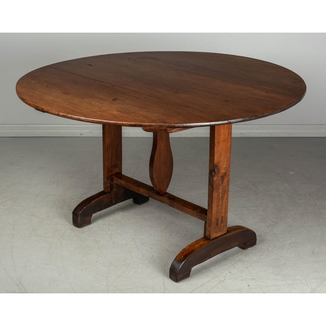 Wood 19th C. French Wine Tasting Table or Tilt-Top Table For Sale - Image 7 of 12