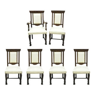 Early 20th Century Antique Italian Renaissance Carved Oak Wood Upholstered Dining Chairs- 6 Pieces For Sale
