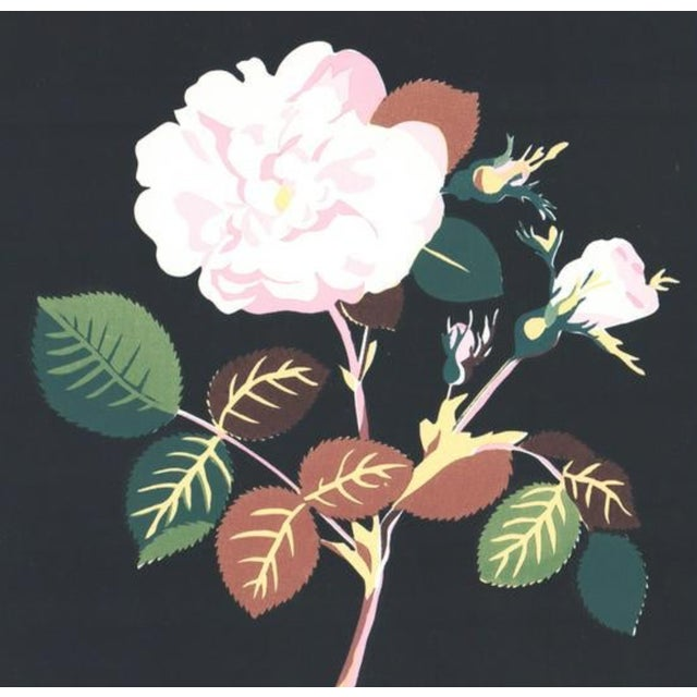Unsigned silkscreen print of a flower - probably a camellia or rose blossom.