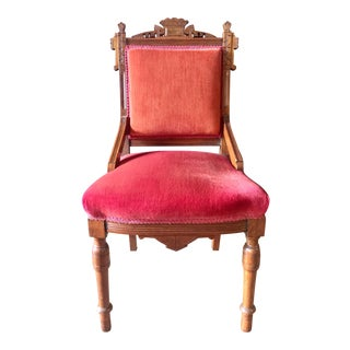 Late 19th Century Walnut + Velvet Victorian Eastlake Side Chair - Two Available For Sale