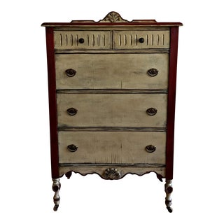 Vintage Rustic Farmhouse Greige Dresser