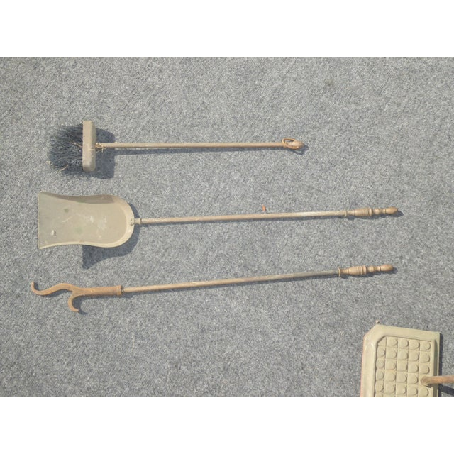 1950s Vintage Mid-Century Cast Iron Fireplace Tools Poker Shovel Brush For Sale - Image 5 of 7