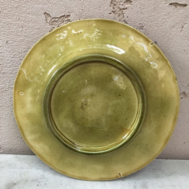 19th Century English Majolica Leaves Plate For Sale - Image 4 of 8