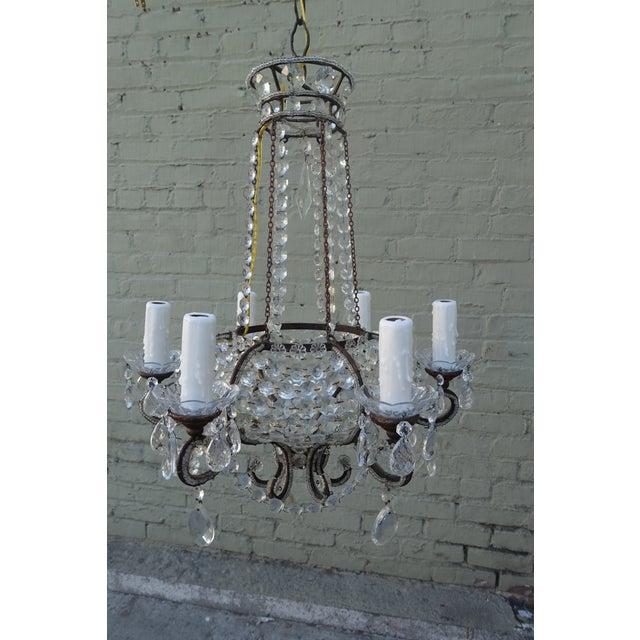Italian 6 Light Crystal Beaded Basket Chandelier Image 10 Of