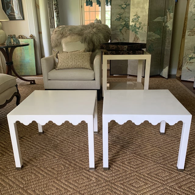 White Lacquered Grass Cloth Moroccan Style Side Tables- a Pair For Sale - Image 12 of 12
