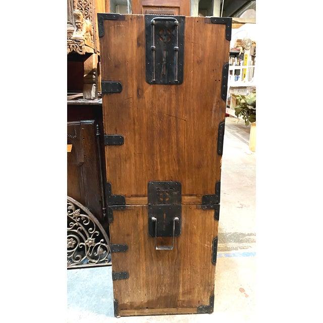 Metal Mid 19th Century Japanese Meiji Period Kiri Wood Tansu Clothing Cabinet For Sale - Image 7 of 13